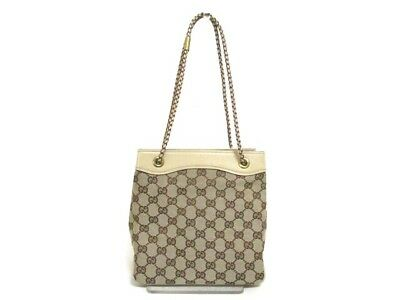 Authentic GUCCI Beige Brown GG 109143 Jacquard Leather Handbag