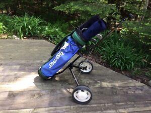 Ensemble sac, chariot, bâtons de golf