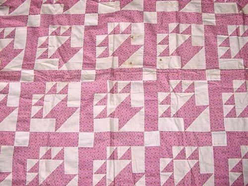 OUTSTANDING ANTIQUE TWO COLOR BASKET QUILT TOP EARLY 1900s