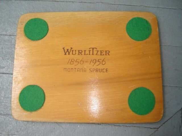 Vintage 1956 Wurlitzer Jukebox Centennial Advertising Wood Drink Bar Tray