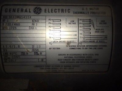 Used General Electric Motor 1hp 1 Hp 3 Phase 5k43mg5455x