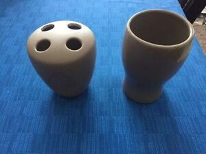 Ceramic taupe toothbrush holder drinking cup & face cloth ring