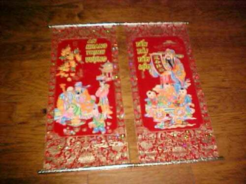 2 Chinese Feng Shui Red & Painted Velveteen Wall Hanging Scrolls Free Ship
