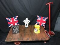 Vintage Country Dudley Railway Tuglift Trolley Oak Iron Plank Top Coffee Display Table