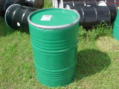 55 Gallon Green Metal Steel Barrel Barrels Open Top Removable Drum Drums Lid
