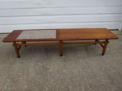 Vintage Mid-Century Danish Modern 1960s LANE Walnut / Tile Top Long Coffee Table
