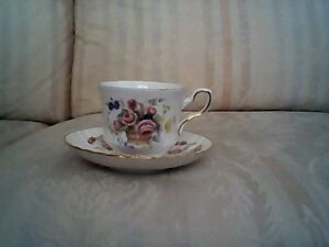 Antique English Bone China Teacup & Saucer by Royal Stafford