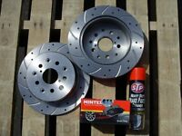Mitsubishi L200 2.5 DiD Front 294mm Drilled & Grooved Brake Discs & Mintex Pads & Free Brake Cleaner