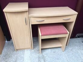 Beech study desk & stool with matching cabinet