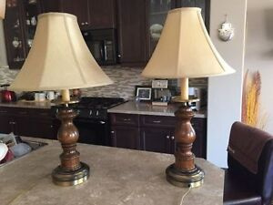 A Set of Elegant Retro Wooden table lamps in perfect working ord