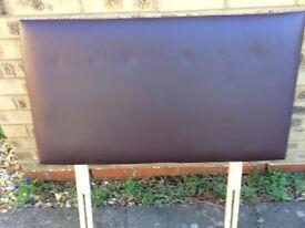 Kingsize & Single Headboard - Brown Faux Leather - Nicely Padded
