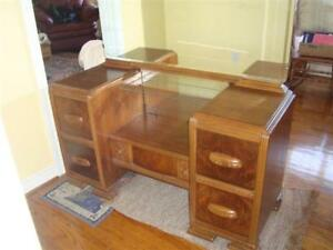 Vintage Wood Vanity with Mirror and matching seat.