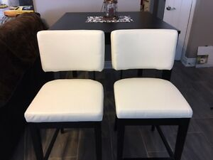 Bar Height Table and 2 White Leather Bar Chairs with Backs