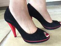 Hobbs Peep Toe Black & Red Suede Court Shoes Size 4 - Excellent Condition