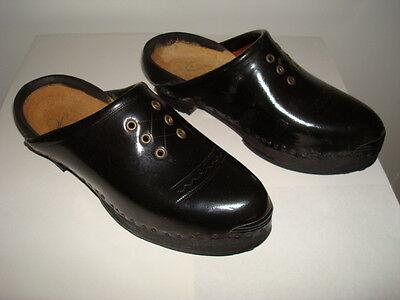 Vintage French Black Clogs