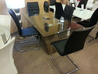 DINO MODERN GALSS TOP DINING ROOM WITH CHAIRS ONLY $598