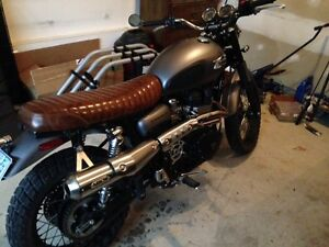 Brown Leather British Customs Slammer Seat for Triumph