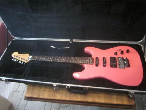 RARE Korea Fender electric Guitar Strat Floyd Rose Locking Nut HOT PINK w/case