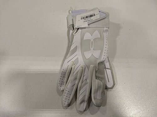 Under Armour Motive Fast Pitch Softball Batting Gloves, Size Small, White/Gray