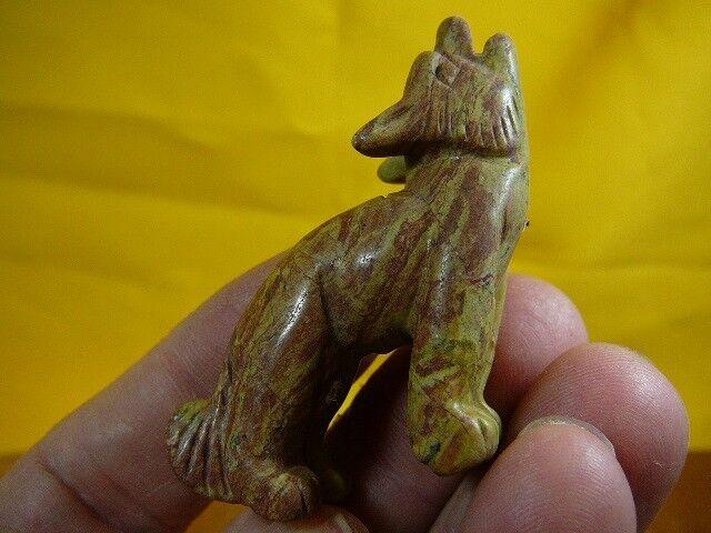 (Y-COY-ST-706) Brown howling COYOTE JASPER wild dog gemstone carving FIGURINE