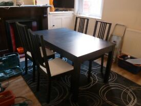 Ikea extendable dining room table and four chairs - bargain!