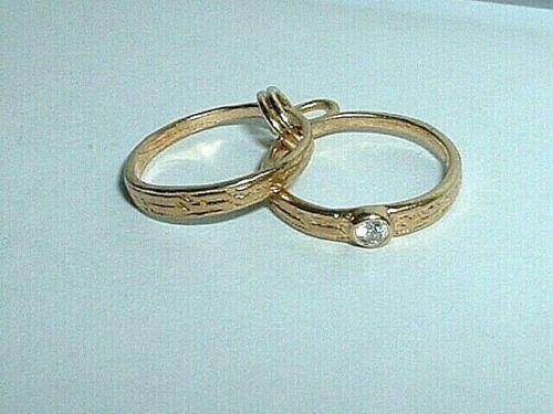 VINTAGE 14K YELLOW GOLD DIAMOND ENGAGEMENT & WEDDING BAND RING CHARM