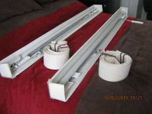 """2 VERTICAL BLINDS,OPEN IN MIDDLE , 52.5""""W BY21.5""""H,LIKE NEW."""
