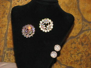 2 Sherman Brooches and a Pair of Swarovski Clip On Earrings