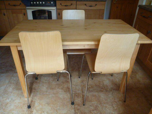 Ikea Light Wood Table & 3 Chairs