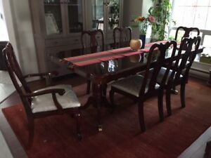 Cherry Dining Room Table with  6 chairs