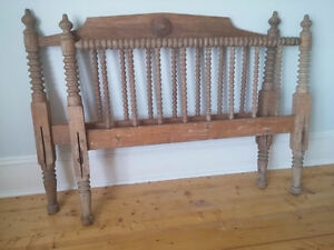 Beautiful antique solid wood bed with excellent detail