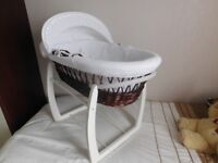 Wicker Moses Basket and White Stand.