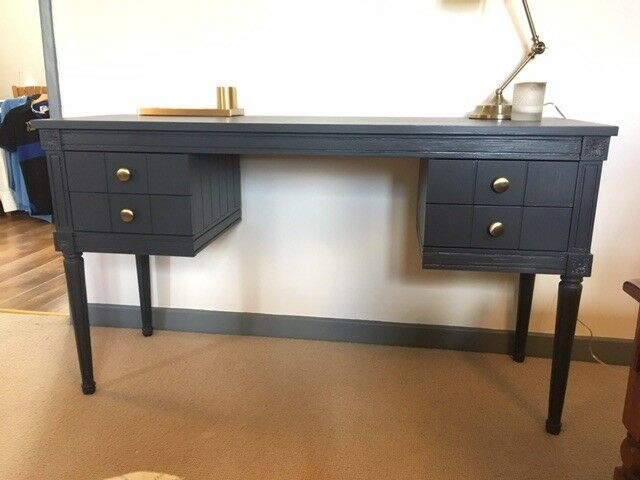 Beautiful Bourbon Vintage Dark Blue Desk From Made Com Brand New With A Of