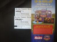 TWO ALTON TOWERS TICKETS FOR THURSDAY 12TH JULY 2018 ADMITS ADULT OR CHILD