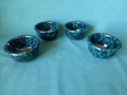 Four Bennington Potters  Black and Green Agate 1892 Small Bowls Bennington VT