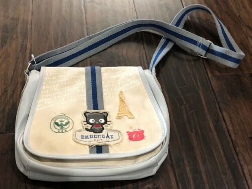 Chococat Messenger Bag Grey Beige Canvas Crossbody Adjustable Eiffel Tower
