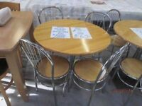 *+ROUND WOODEN DINING TABLE* WITH 4 CHAIRS WITH ALUMINIUM LEGS/GOOD CONDITION/DELIVERY