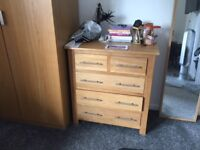 Solid Oak Chest of Drawers & 2z Bedside Tables