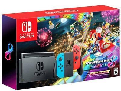NEW Nintendo Switch Console Mario Kart 8 Deluxe Bundle Neon Blue/Red Joy-Con