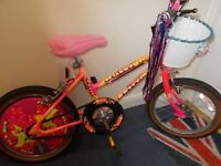 Raleigh lovely kids bike,14 inches wheels,age for 5-7 years old