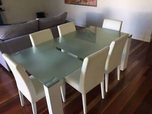 Glass Top Dining Table & 6 White Leather Chairs The Entrance North Wyong Area Preview