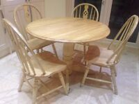 Shabby Chic Country Kitchen Table and Four Matching Chairs