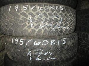 195/60 R15 GOODYEAR NORDIC WINTER TIRES USED SNOW TIRES (PAIR OF 2 - $110.00) - APPROX. 80% TREAD