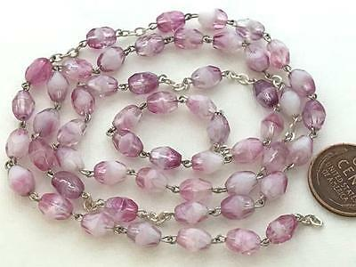 Vintage Czech 5 x 7mm Faceted Pink Iris Givre Glass Bead Rosary Chain 2 Feet