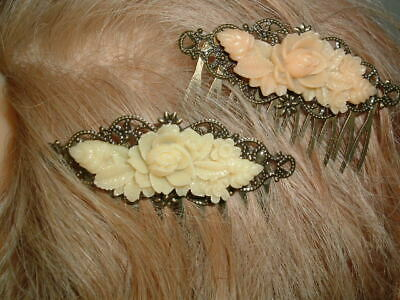 Victorian Wigs, Hair Pieces  | Victorian Hair Jewelry PAIR VICTORIAN CELLULOID FLORAL BRONZE SLIDE HAIR COMBS IN GIFT BOX $25.00 AT vintagedancer.com