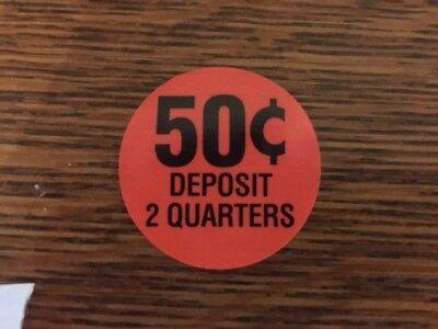 Original 50 Cent .50 Decal Sticker Label Gumball Bulk Vending Machine Oak Nw Aa