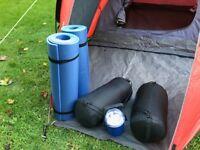 2 man Tent/2 Sleeping Bags/2 roll mats/lamp combo