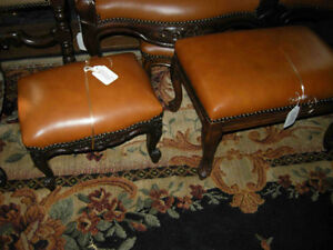many antique foot stools LEATHER upholstery large selection