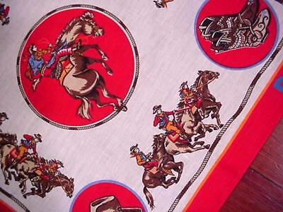 Vintage Unused WESTERN Red BANDANA Horses COWBOYS Boots Hats DELL COMPUTER Texas (Cowboy Red Bandana)