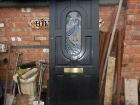 DOOR RECLAIMED HARDWOOD PEACOCK STAIN GLASS